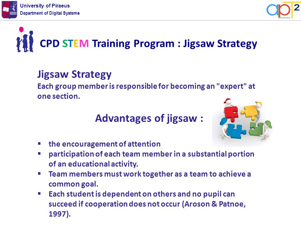 Department of Digital Systems University of Piraeus Jigsaw Strategy Each group member is responsible for becoming an expert at one section.