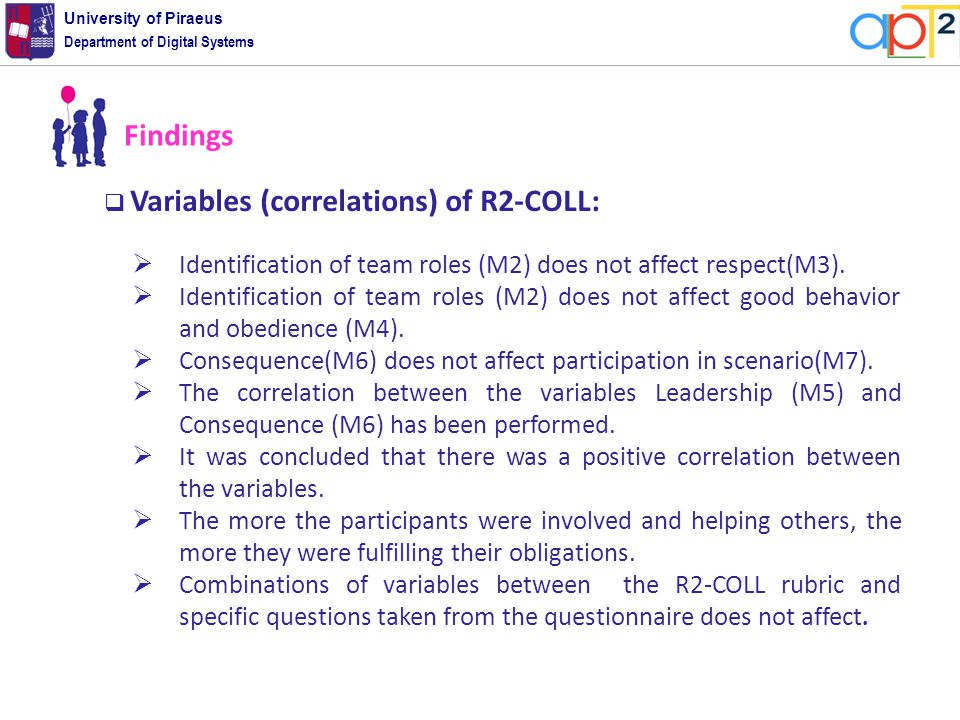 Department of Digital Systems University of Piraeus  Variables (correlations) of R2-COLL:  Identification of team roles (M2) does not affect respect(M3).