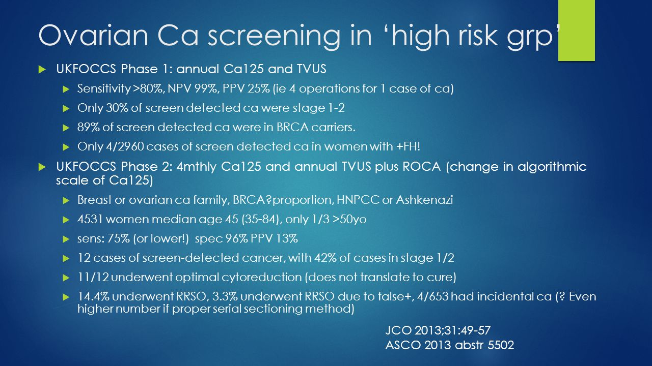 Ovarian Ca screening in 'high risk grp'  UKFOCCS Phase 1: annual Ca125 and TVUS  Sensitivity >80%, NPV 99%, PPV 25% (ie 4 operations for 1 case of c