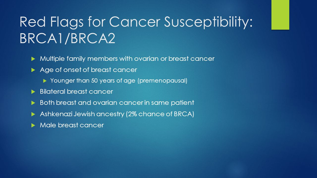 Red Flags for Cancer Susceptibility: BRCA1/BRCA2  Multiple family members with ovarian or breast cancer  Age of onset of breast cancer  Younger tha
