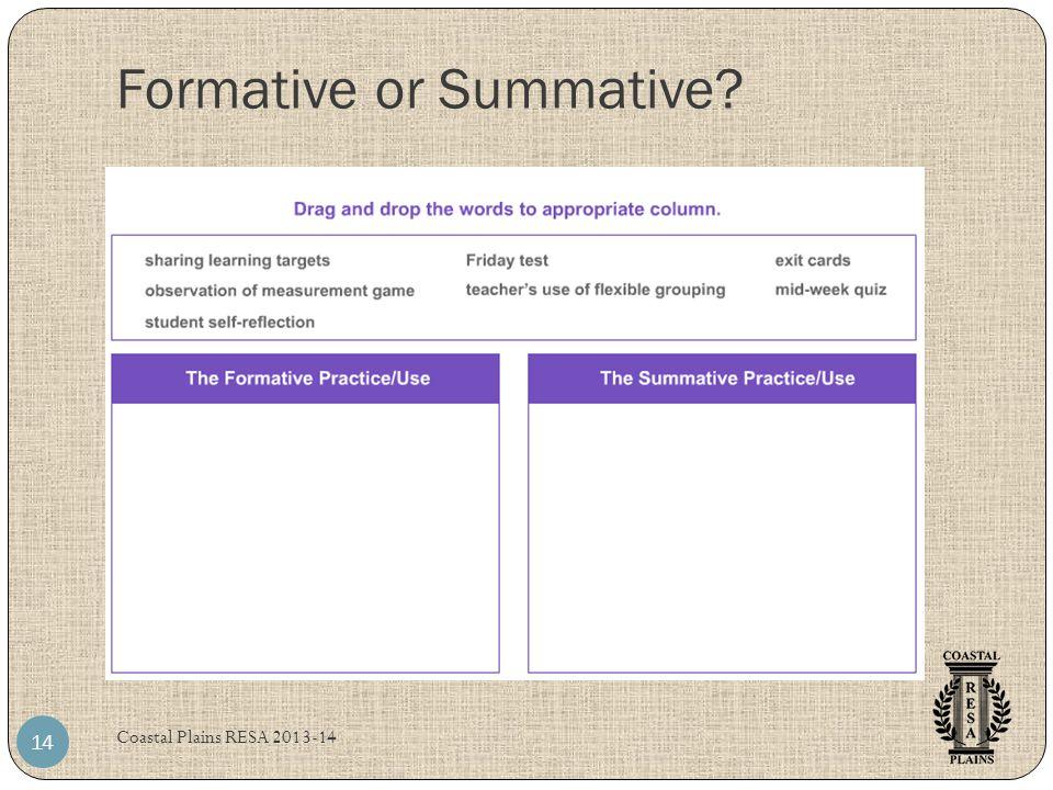 Formative or Summative Coastal Plains RESA 2013-14 14