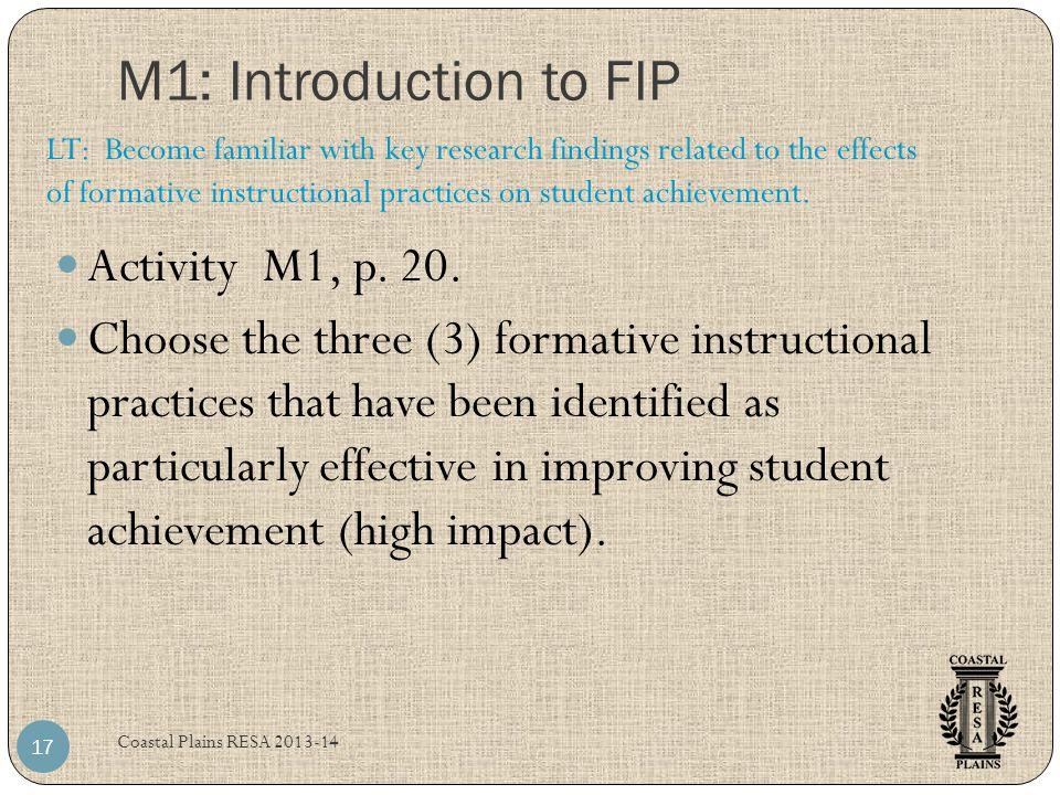 M1: Introduction to FIP Coastal Plains RESA 2013-14 17 Activity M1, p.