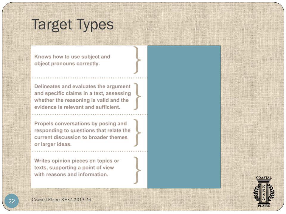 Target Types Coastal Plains RESA 2013-14 22