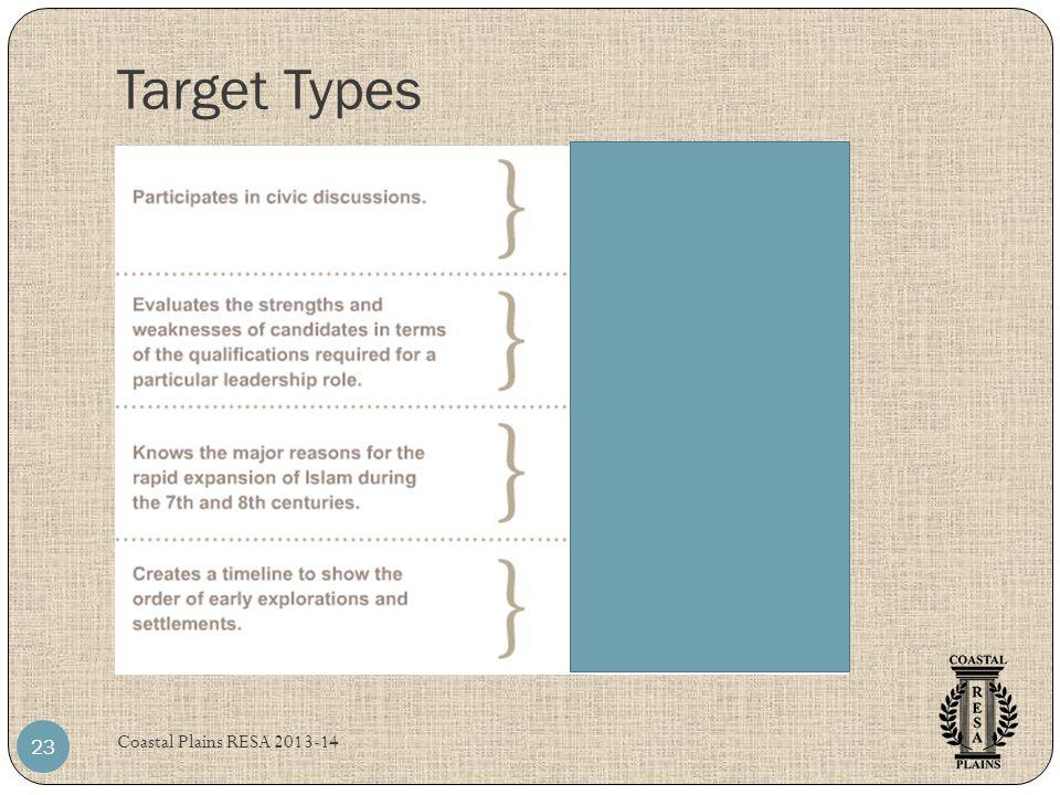Target Types Coastal Plains RESA 2013-14 23