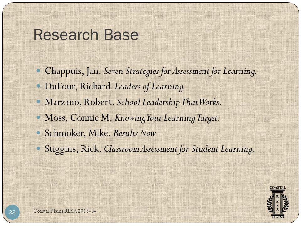 Research Base Coastal Plains RESA 2013-14 33 Chappuis, Jan.