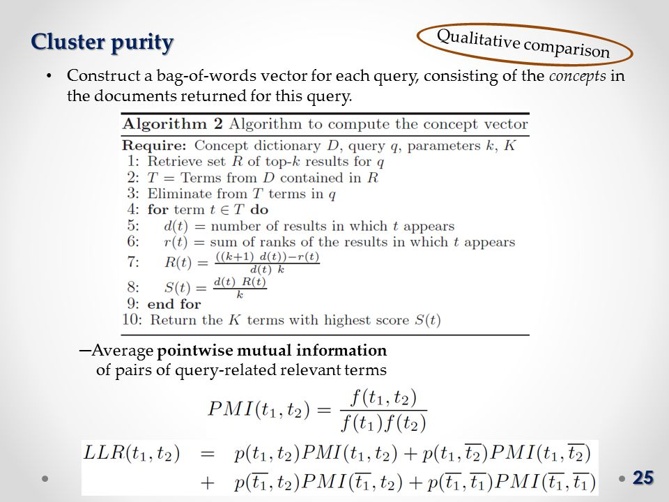 25 Cluster purity Qualitative comparison ─ Average pointwise mutual information of pairs of query-related relevant terms Construct a bag-of-words vector for each query, consisting of the concepts in the documents returned for this query.