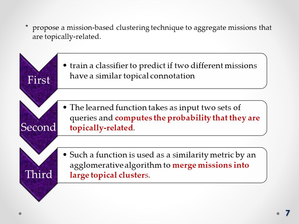 7 * propose a mission-based clustering technique to aggregate missions that are topically-related.