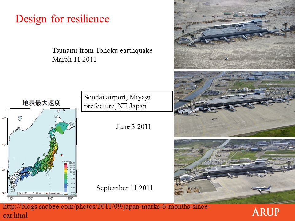 Sendai airport, Miyagi prefecture, NE Japan Tsunami from Tohoku earthquake March 11 2011 September 11 2011 June 3 2011 Design for resilience http://blogs.sacbee.com/photos/2011/09/japan-marks-6-months-since- ear.html