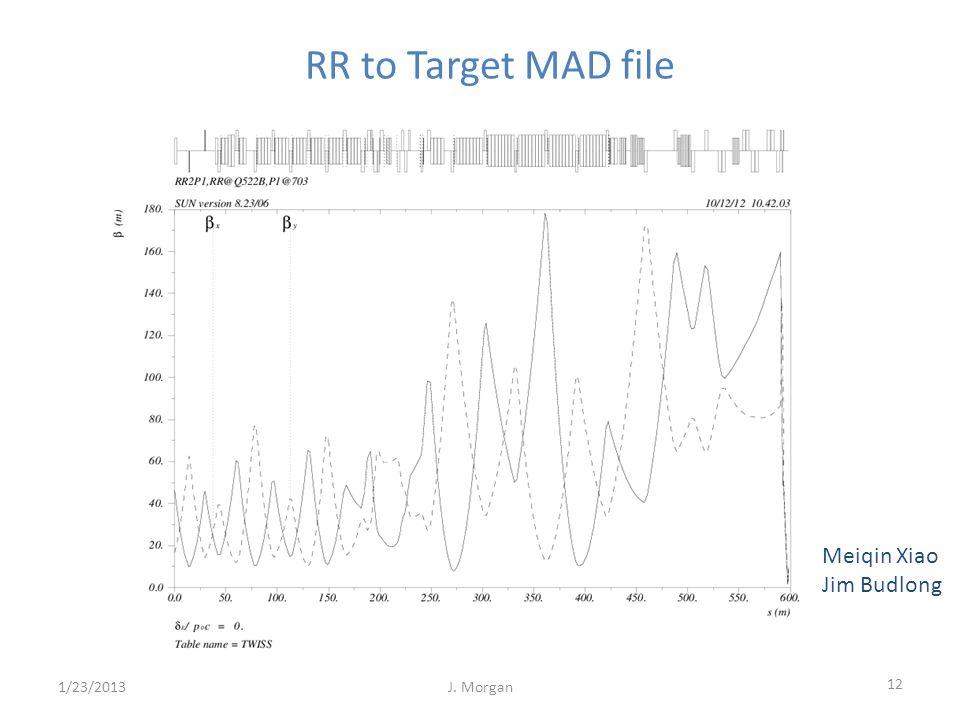 12 1/23/2013J. Morgan RR to Target MAD file Meiqin Xiao Jim Budlong