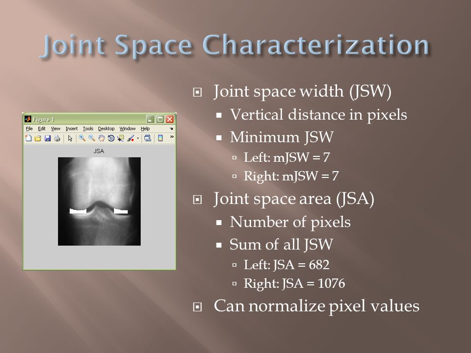  Joint space width (JSW)  Vertical distance in pixels  Minimum JSW  Left: mJSW = 7  Right: mJSW = 7  Joint space area (JSA)  Number of pixels  Sum of all JSW  Left: JSA = 682  Right: JSA = 1076  Can normalize pixel values