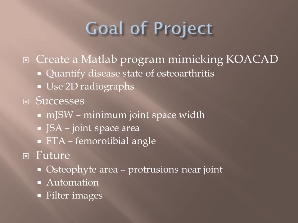  Create a Matlab program mimicking KOACAD  Quantify disease state of osteoarthritis  Use 2D radiographs  Successes  mJSW – minimum joint space width  JSA – joint space area  FTA – femorotibial angle  Future  Osteophyte area – protrusions near joint  Automation  Filter images