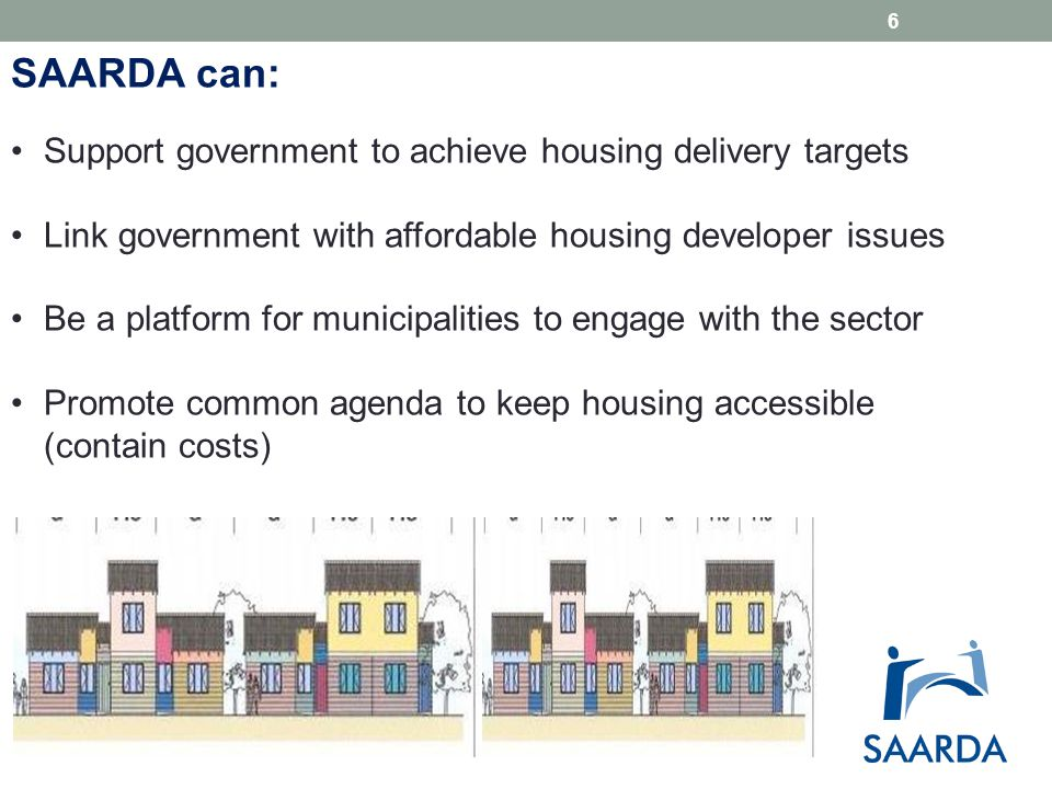 Development Applications Consistency and enforceability of Municipal IDPs and Spatial Development Frameworks:  Engagement with affordable housing developers up front in the planning processes Service standards regarding applications:  Information requirements  Procedures  Turnaround times  Appeal processes Implementation of SPLUMA…..