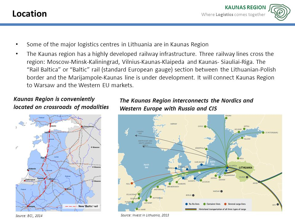 KAUNAS REGION The Kaunas Region interconnects the Nordics and Western Europe with Russia and CIS Kaunas Region is conveniently located on crossroads o