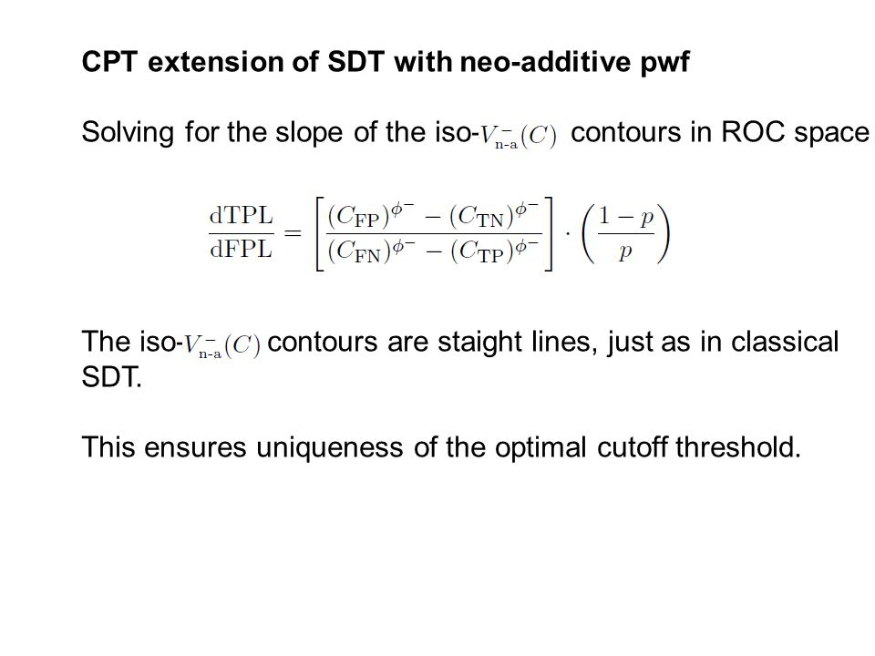 Solving for the slope of the iso- contours in ROC space The iso- contours are staight lines, just as in classical SDT.