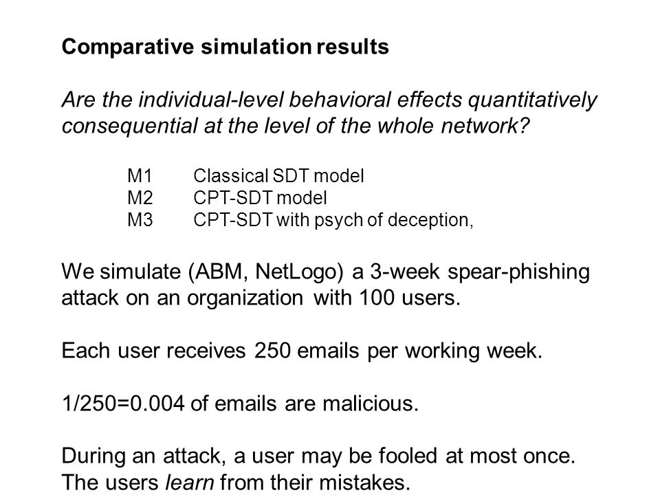 Comparative simulation results Are the individual-level behavioral effects quantitatively consequential at the level of the whole network.