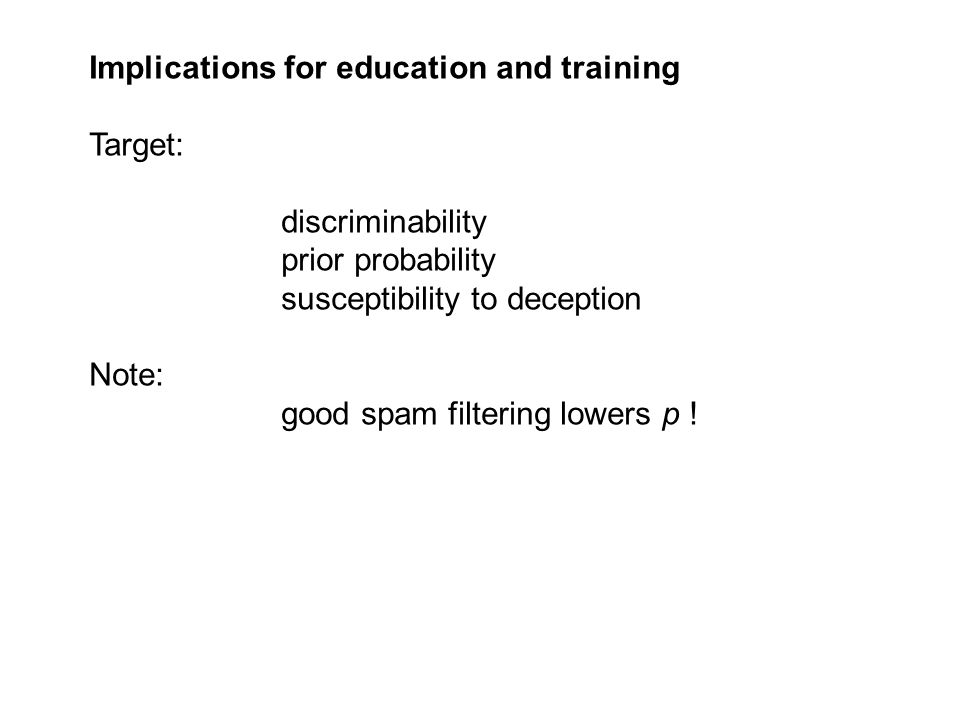 Implications for education and training Target: discriminability prior probability susceptibility to deception Note: good spam filtering lowers p !
