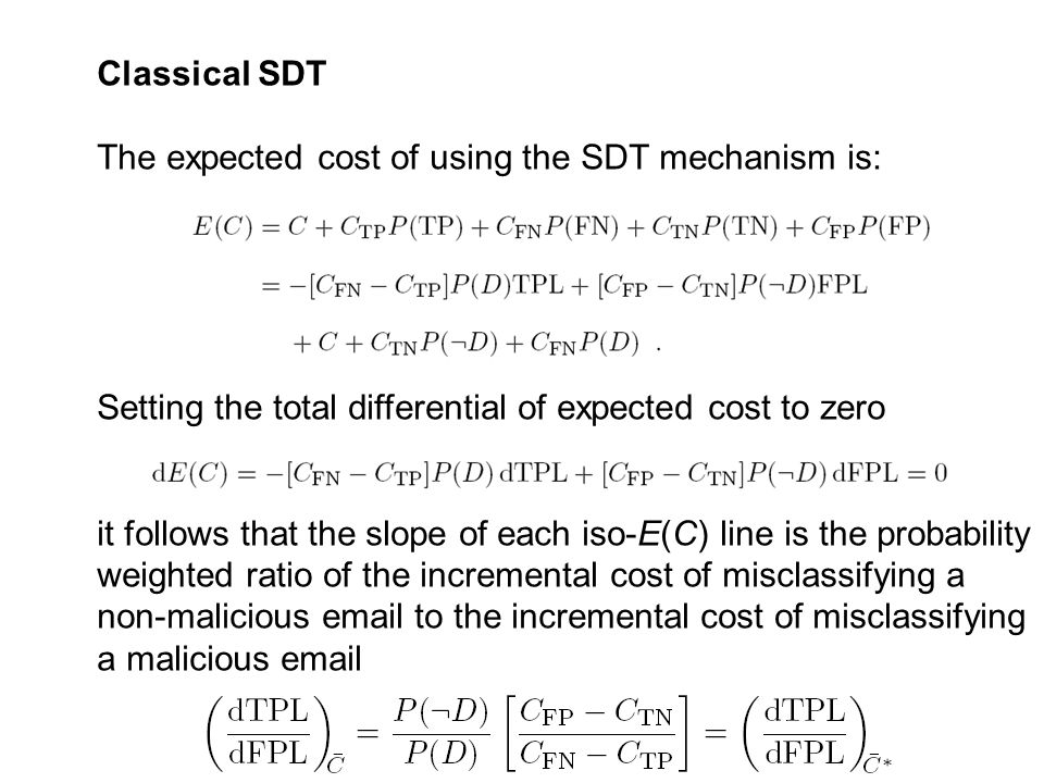 Classical SDT The expected cost of using the SDT mechanism is: Setting the total differential of expected cost to zero it follows that the slope of each iso-E(C) line is the probability weighted ratio of the incremental cost of misclassifying a non-malicious email to the incremental cost of misclassifying a malicious email