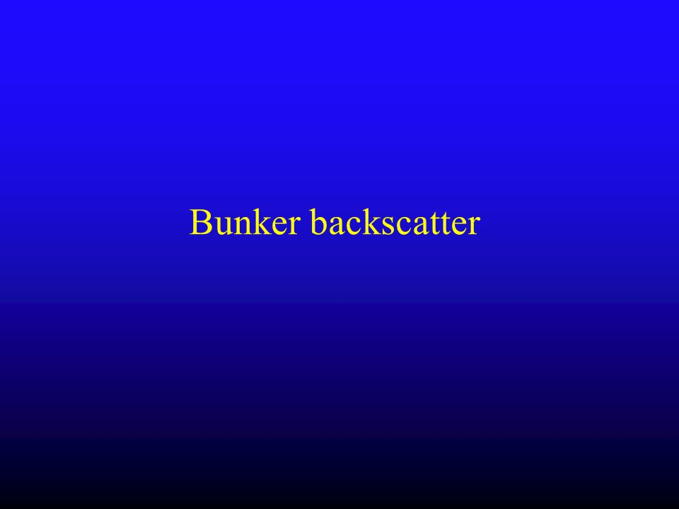 Bunker Backscatter (Rowshanfarzad et al, JACMP, 2012) 1) Portable brick wall experiment 2) Response variation with various gantry angle (MatriXX: output variation) Distance btw isocenter – left wall:370, right wall:385, floor:130, ceiling 145 cm 3) Worst case scenario : SDD=150+phantom, relative differences within 1.0% 1)