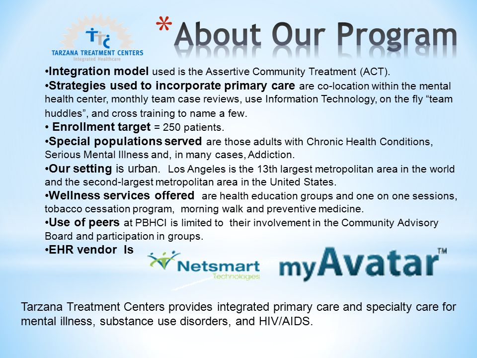 Integration model used is the Assertive Community Treatment (ACT).