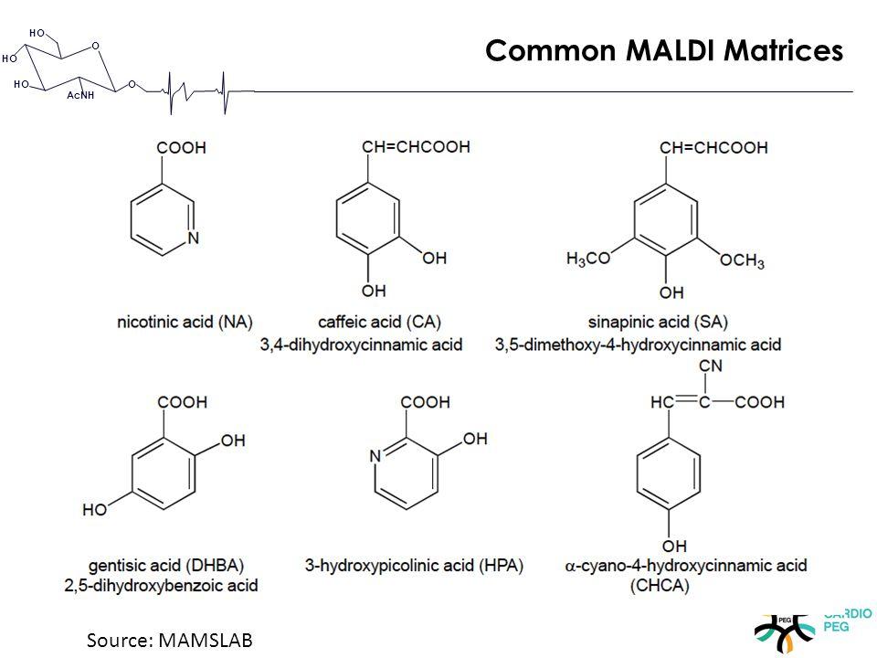 O O HO AcNH Common MALDI Matrices Source: MAMSLAB