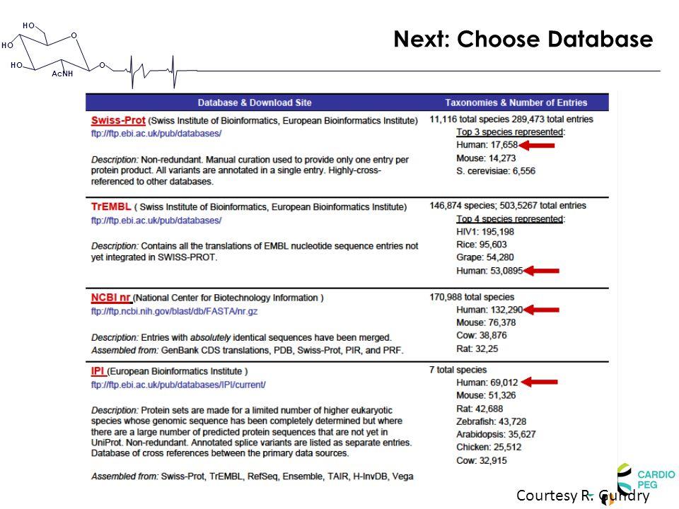 O O HO AcNH Courtesy R. Gundry Next: Choose Database