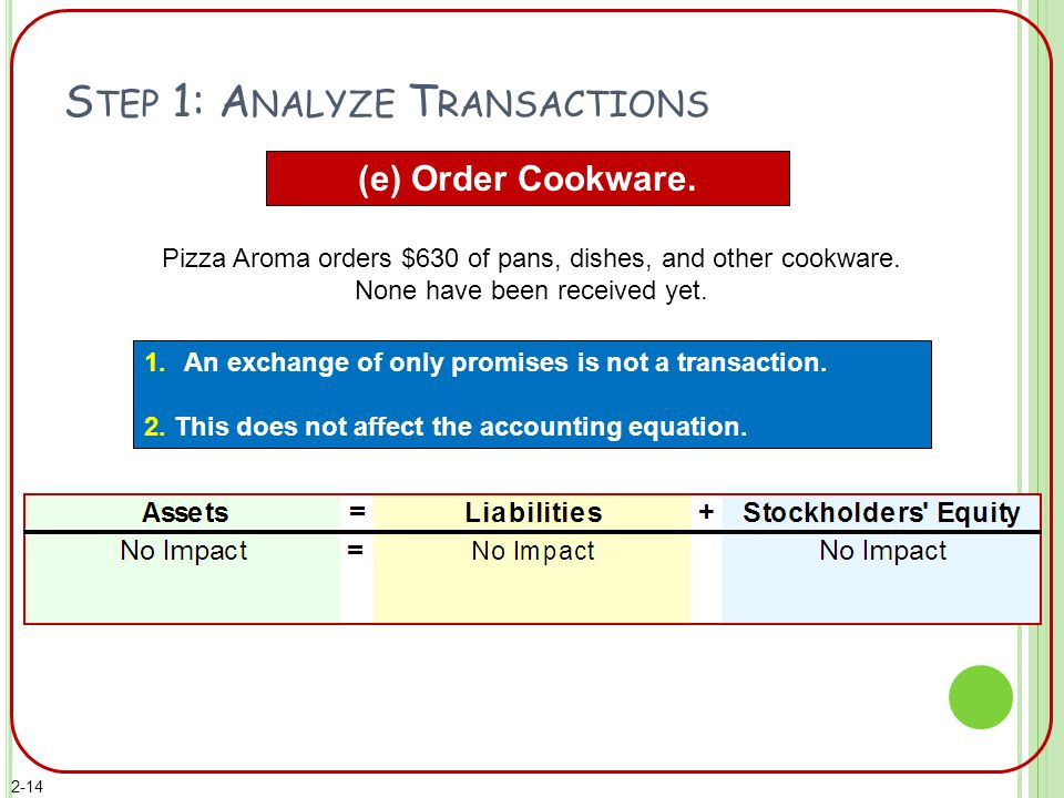 S TEP 1: A NALYZE T RANSACTIONS (e) Order Cookware. 1.An exchange of only promises is not a transaction. 2. This does not affect the accounting equati