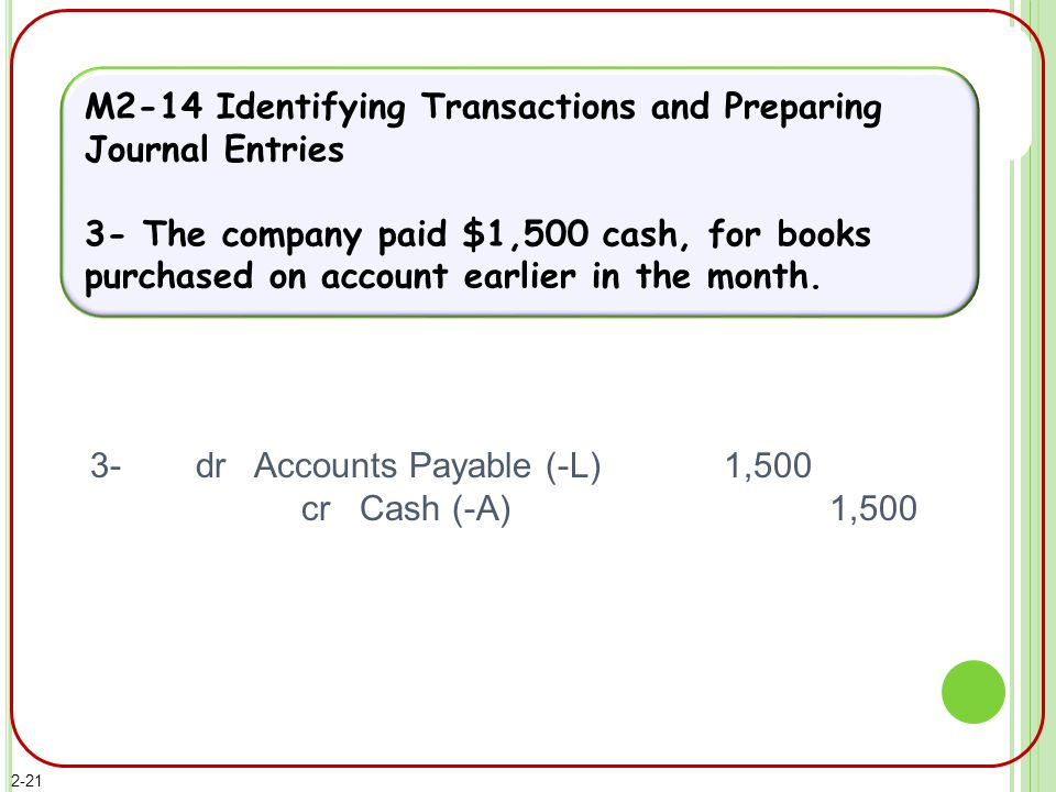 M2-14 Identifying Transactions and Preparing Journal Entries 3- The company paid $1,500 cash, for books purchased on account earlier in the month.