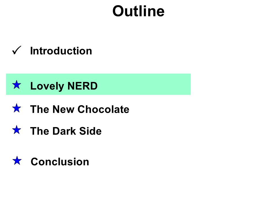 Outline Lovely NERD The Dark Side The New Chocolate Conclusion Introduction 