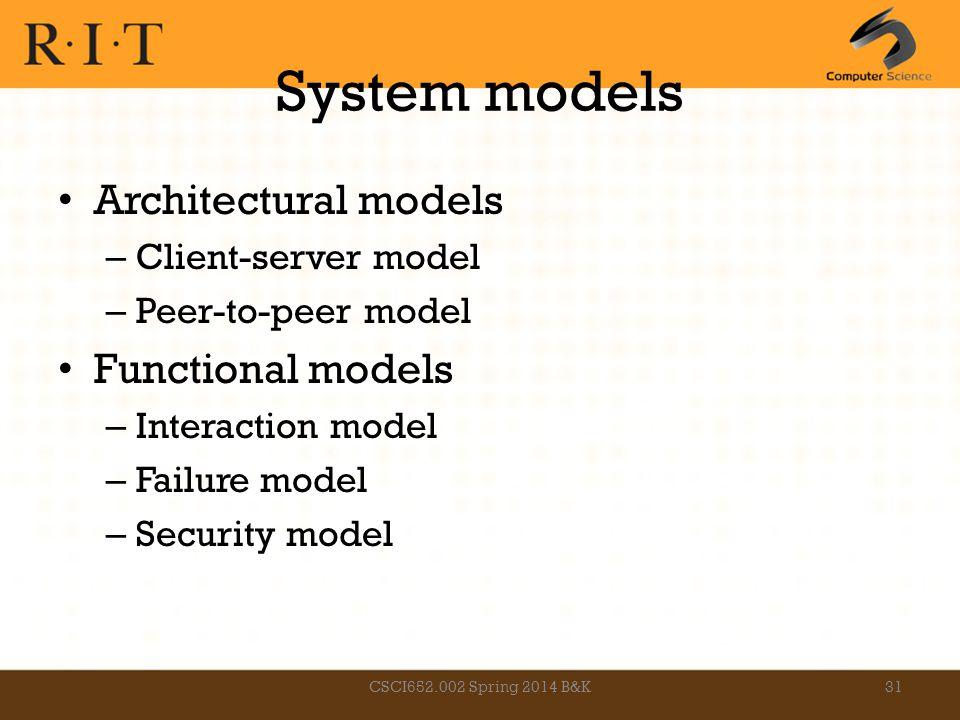 System models Architectural models – Client-server model – Peer-to-peer model Functional models – Interaction model – Failure model – Security model C