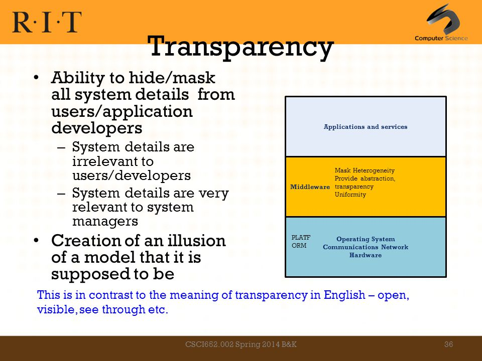 Transparency Ability to hide/mask all system details from users/application developers – System details are irrelevant to users/developers – System de