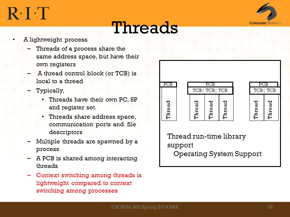 Threads A lightweight process – Threads of a process share the same address space, but have their own registers – A thread control block (or TCB) is l