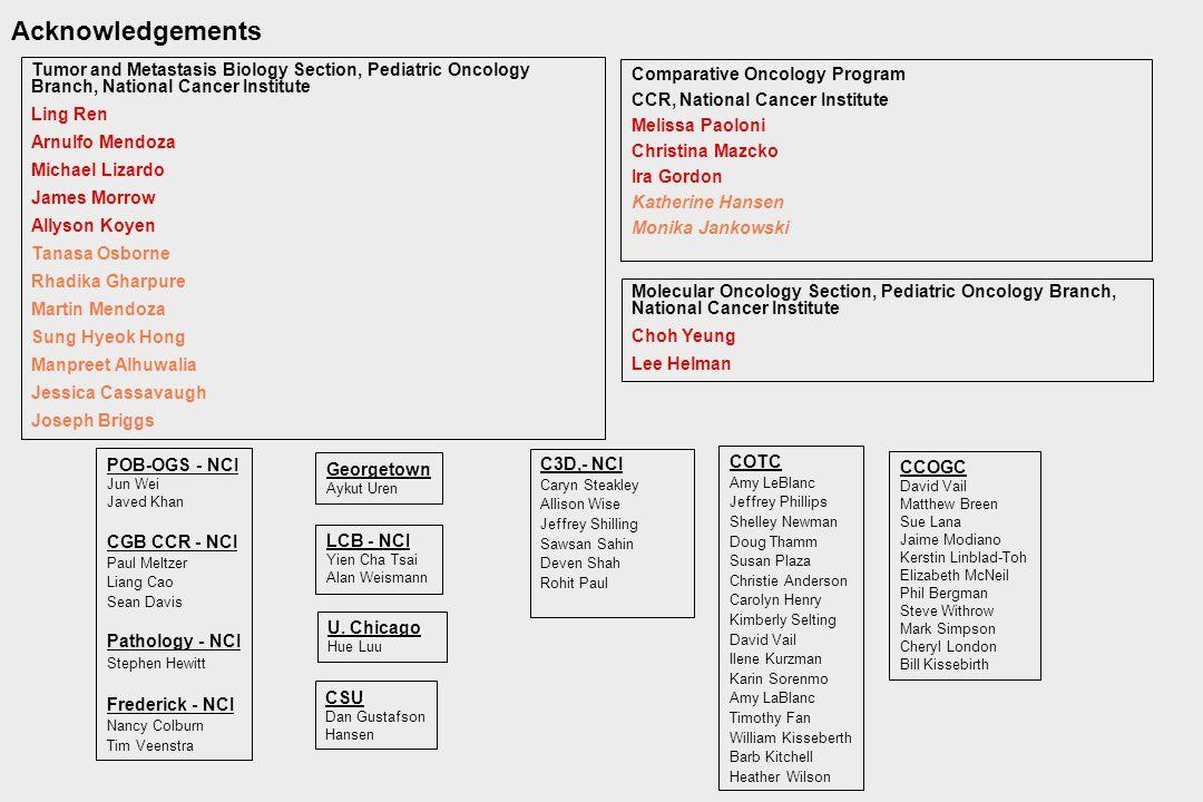 Acknowledgements Comparative Oncology Program CCR, National Cancer Institute Melissa Paoloni Christina Mazcko Ira Gordon Katherine Hansen Monika Janko