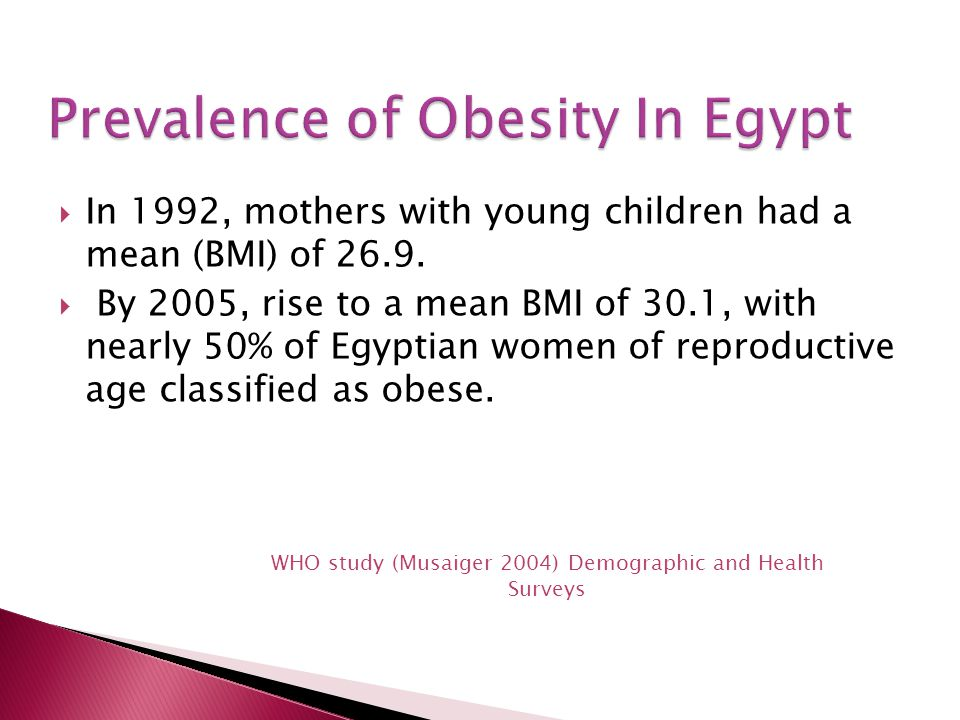  In 1992, mothers with young children had a mean (BMI) of 26.9.