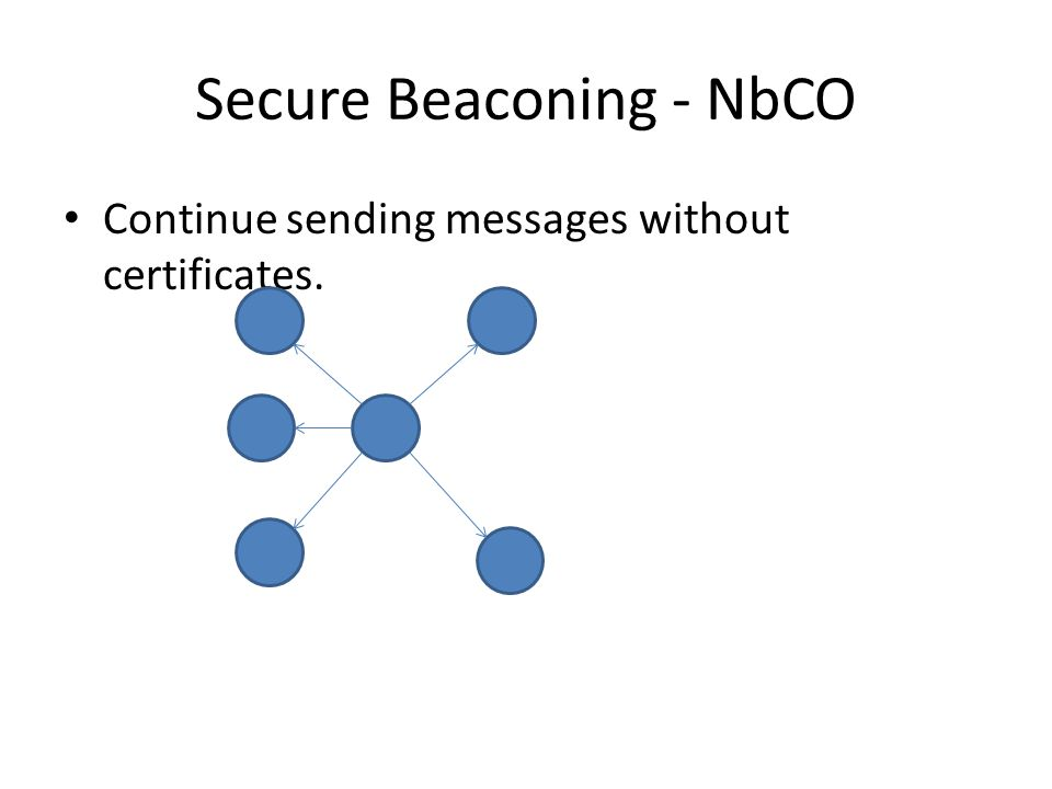Secure Beaconing - NbCO Continue sending messages without certificates.