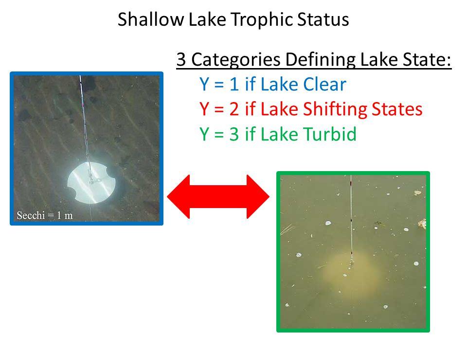 Shallow Lake Trophic Status 3 Categories Defining Lake State: Y = 1 if Lake Clear Y = 2 if Lake Shifting States Y = 3 if Lake Turbid