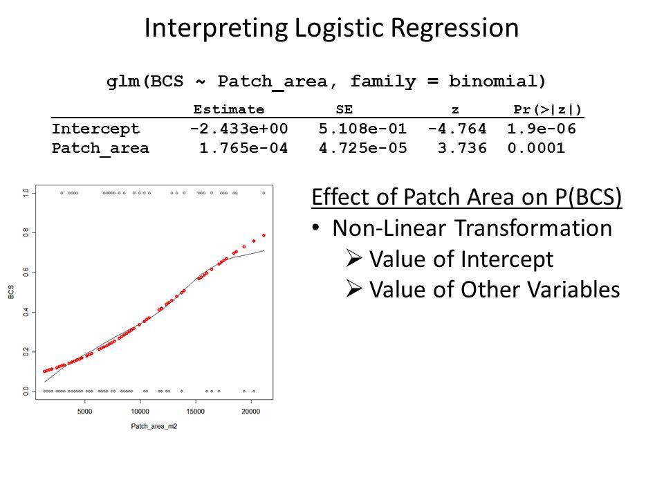 Interpreting Logistic Regression glm(BCS ~ Patch_area, family = binomial) Estimate SE z Pr(>|z|) Intercept -2.433e+00 5.108e-01 -4.764 1.9e-06 Patch_area 1.765e-04 4.725e-05 3.736 0.0001 Effect of Patch Area on P(BCS) Non-Linear Transformation  Value of Intercept  Value of Other Variables