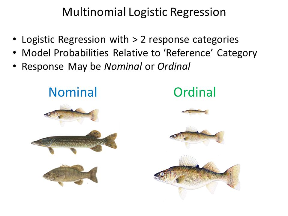 Multinomial Logistic Regression Logistic Regression with > 2 response categories Model Probabilities Relative to 'Reference' Category Response May be Nominal or Ordinal NominalOrdinal