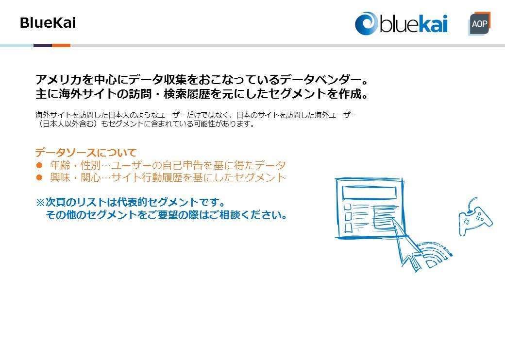 BlueKai アメリカを中心にデータ収集をおこなっているデータベンダー。 主に海外サイトの訪問・検索履歴を元にしたセグメントを作成。 海外サイトを訪問した日本人のようなユーザーだけではなく、日本のサイトを訪問した海外ユーザー (日本人以外含む)もセグメントに含まれている可能性があります。 データソースについて 年齢・性別…ユーザーの自己申告を基に得たデータ 興味・関心…サイト行動履歴を基にしたセグメント ※次頁のリストは代表的セグメントです。 その他のセグメントをご要望の際はご相談ください。