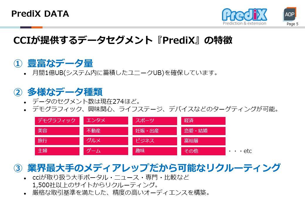 PrediX DATA Page 5 CCIが提供するデータセグメント『PrediX』の特徴 ①豊富なデータ量 月間1億UB(システム内に蓄積したユニークUB)を確保しています。 ②多様なデータ種類 データのセグメント数は現在274ほど。 デモグラフィック、興味関心、ライフステージ、デバイスなどのターゲティングが可能。 ③業界最大手のメディアレップだから可能なリクルーティング cciが取り扱う大手ポータル・ニュース・専門・比較など 1,500社以上のサイトからリクルーティング。 厳格な取引基準を満たした、精度の高いオーディエンスを構築。 主婦 スポーツ エンタメ デモグラフィック 不動産 旅行 経済 美容恋愛・結婚 ビジネス グルメ ゲーム 妊娠・出産 富裕層 趣味 その他 ・・・etc