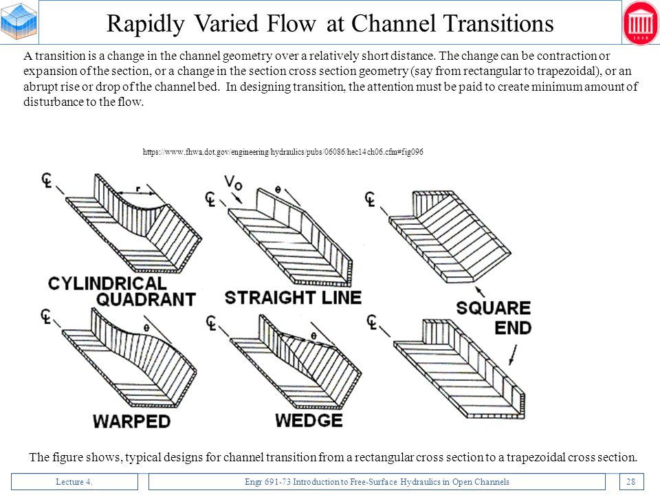 Lecture 4.Engr 691-73 Introduction to Free-Surface Hydraulics in Open Channels28 A transition is a change in the channel geometry over a relatively sh