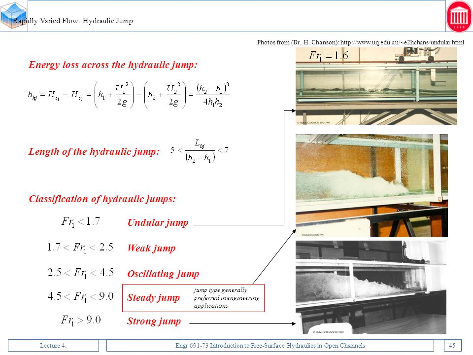 Lecture 4.Engr 691-73 Introduction to Free-Surface Hydraulics in Open Channels45 Rapidly Varied Flow: Hydraulic Jump Energy loss across the hydraulic