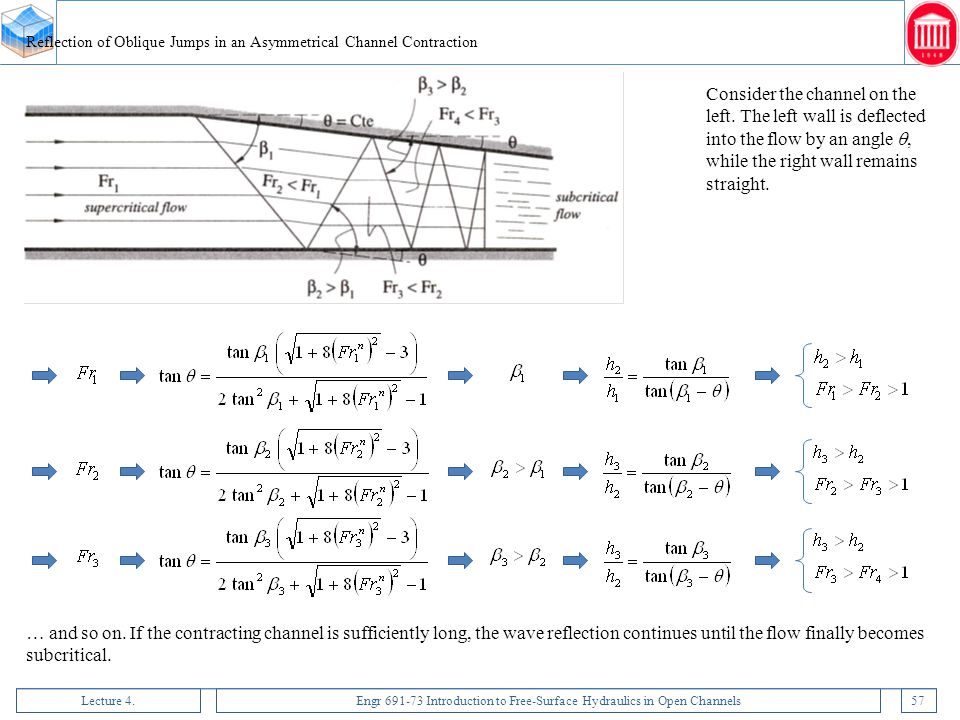 Lecture 4.Engr 691-73 Introduction to Free-Surface Hydraulics in Open Channels57 Reflection of Oblique Jumps in an Asymmetrical Channel Contraction Co