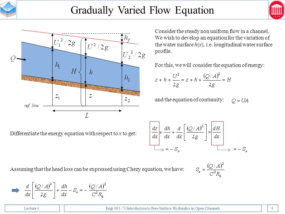Lecture 4.Engr 691-73 Introduction to Free-Surface Hydraulics in Open Channels37 Assume that the head loss due to contraction is negligible (the energy grade line remains parallel to the bed).