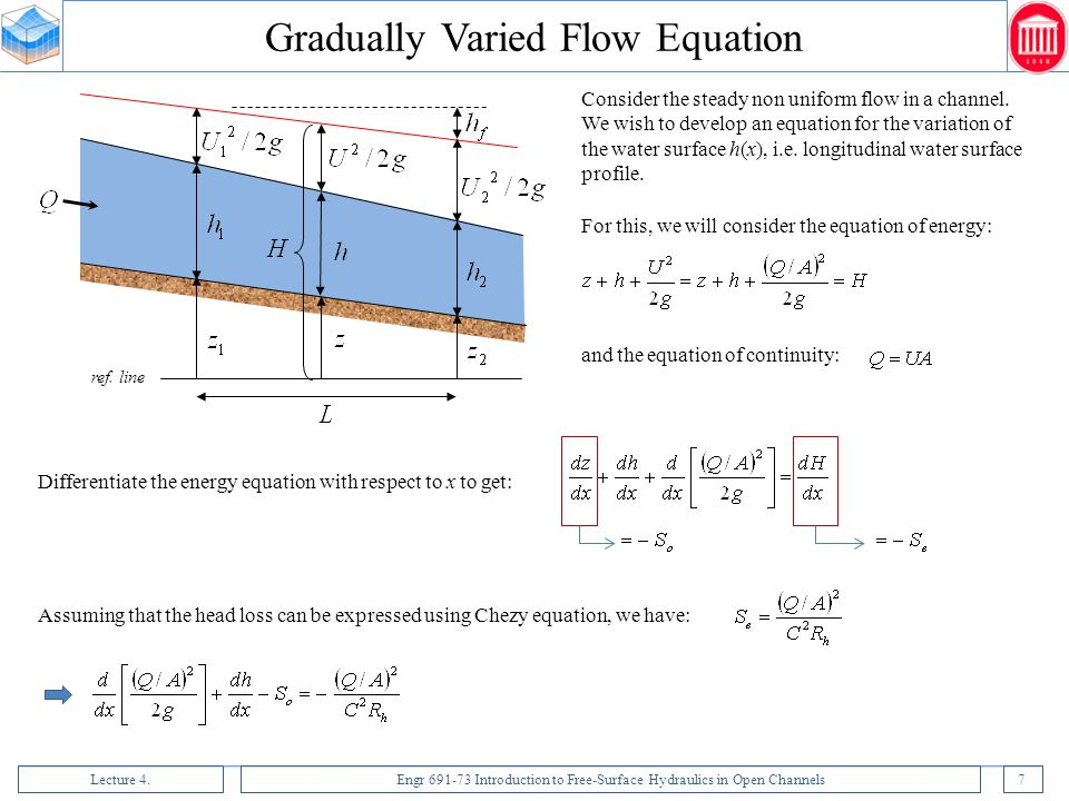 Lecture 4.Engr 691-73 Introduction to Free-Surface Hydraulics in Open Channels7 ref. line Consider the steady non uniform flow in a channel. We wish t