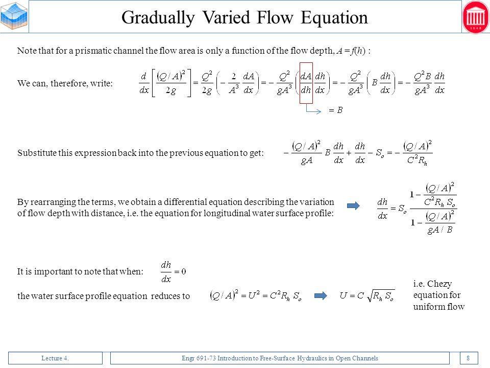Lecture 4.Engr 691-73 Introduction to Free-Surface Hydraulics in Open Channels39 Rapidly Varied Flow: Special Case of Choked Flow due to a High Positive Step If the step is too high, subtracting  z from H s1, we cannot fall back onto the specific energy curve.