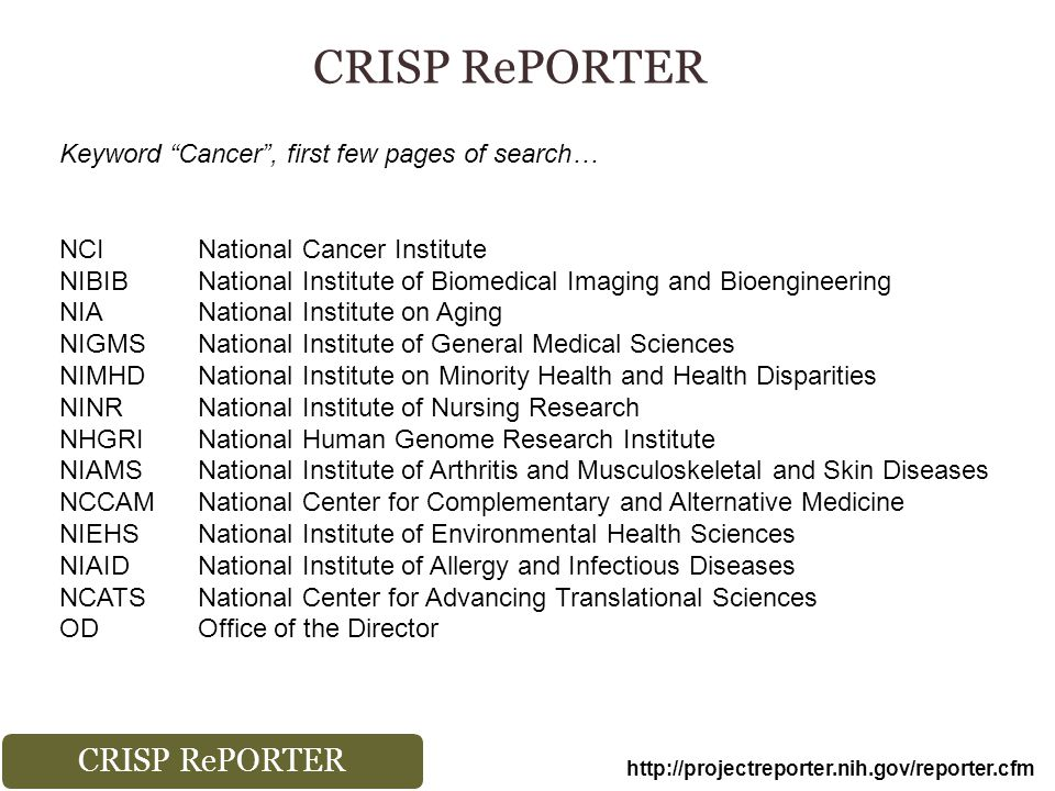 CRISP RePORTER http://projectreporter.nih.gov/reporter.cfm Keyword Cancer , first few pages of search… NCINational Cancer Institute NIBIBNational Institute of Biomedical Imaging and Bioengineering NIANational Institute on Aging NIGMSNational Institute of General Medical Sciences NIMHDNational Institute on Minority Health and Health Disparities NINRNational Institute of Nursing Research NHGRINational Human Genome Research Institute NIAMSNational Institute of Arthritis and Musculoskeletal and Skin Diseases NCCAMNational Center for Complementary and Alternative Medicine NIEHSNational Institute of Environmental Health Sciences NIAIDNational Institute of Allergy and Infectious Diseases NCATSNational Center for Advancing Translational Sciences ODOffice of the Director