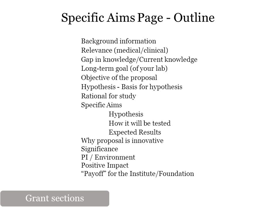 Specific Aims Page - Outline Background information Relevance (medical/clinical) Gap in knowledge/Current knowledge Long-term goal (of your lab) Objective of the proposal Hypothesis - Basis for hypothesis Rational for study Specific Aims Hypothesis How it will be tested Expected Results Why proposal is innovative Significance PI / Environment Positive Impact Payoff for the Institute/Foundation Grant sections