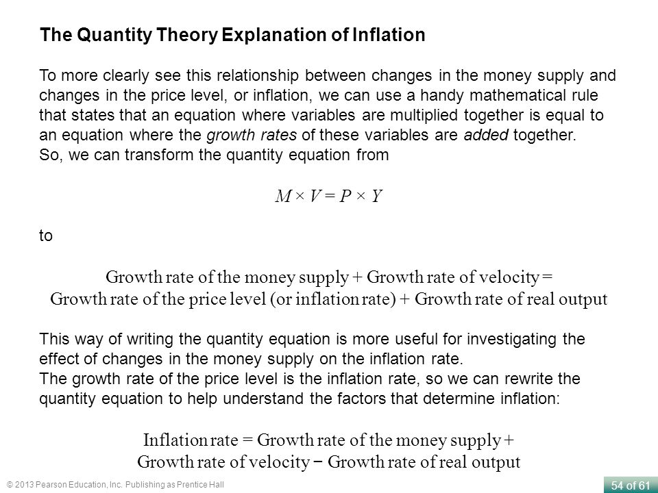 54 of 61 © 2013 Pearson Education, Inc. Publishing as Prentice Hall The Quantity Theory Explanation of Inflation To more clearly see this relationship