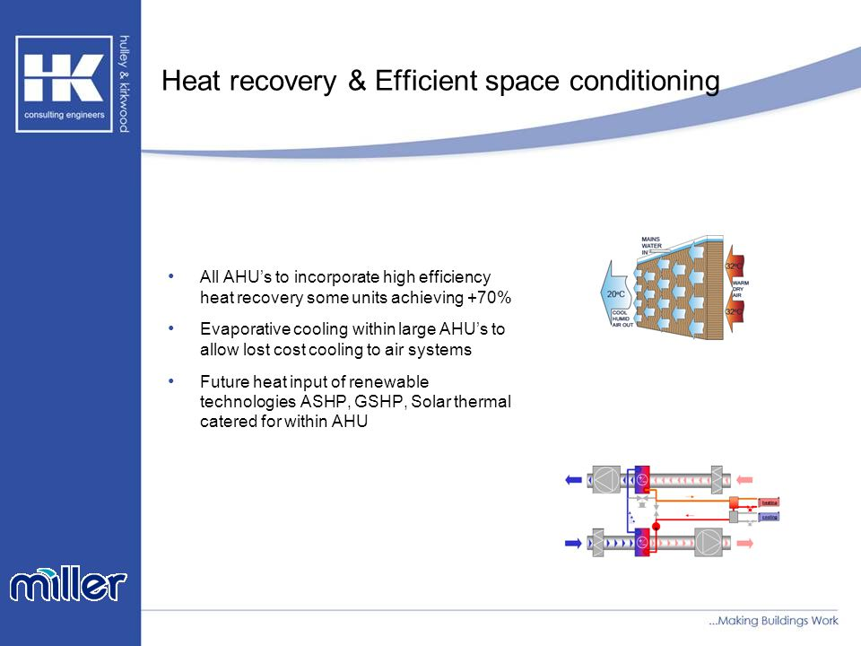 Heat recovery & Efficient space conditioning All AHU's to incorporate high efficiency heat recovery some units achieving +70% Evaporative cooling within large AHU's to allow lost cost cooling to air systems Future heat input of renewable technologies ASHP, GSHP, Solar thermal catered for within AHU