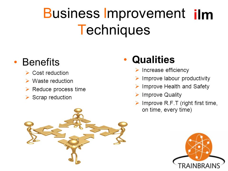 Business Improvement Techniques Benefits  Cost reduction  Waste reduction  Reduce process time  Scrap reduction Qualities  Increase efficiency  Improve labour productivity  Improve Health and Safety  Improve Quality  Improve R.F.T (right first time, on time, every time) ilm